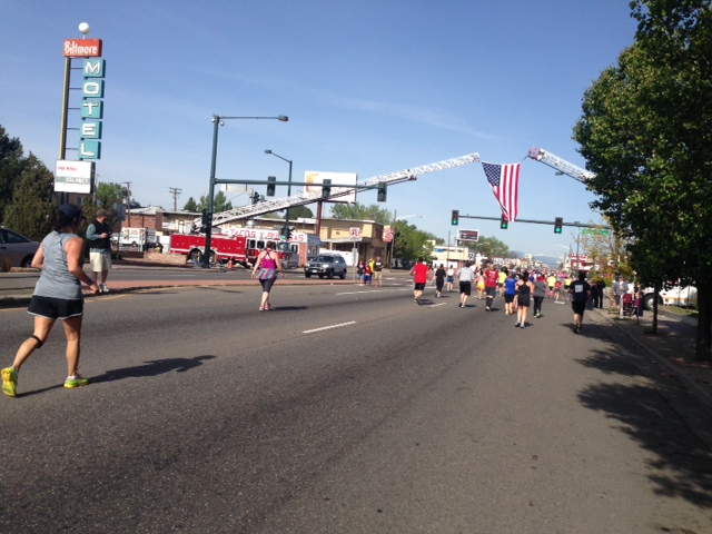 Ladder trucks between mile 9 and 10
