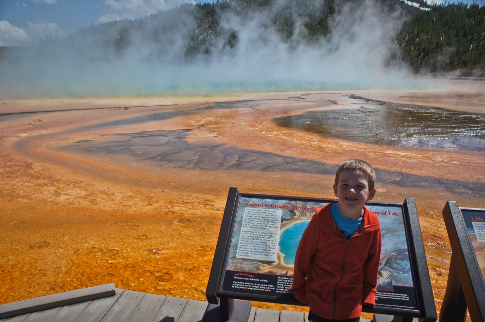 Grand Prismatic Spring, the sign behind Leighton shows what it looks like from above...