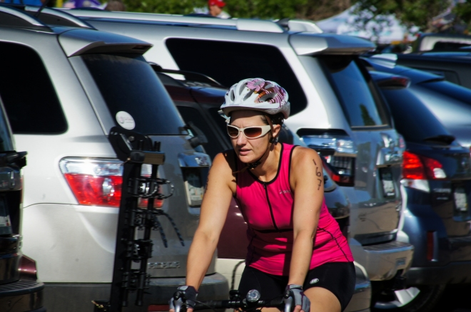 Bekah taking off on the bike
