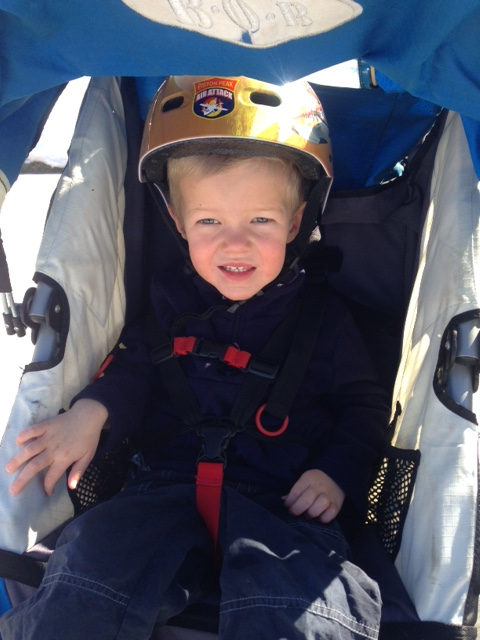 Ready with his helmet on...