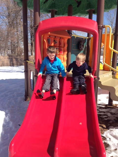 Down the slide...the bottom was only a little wet