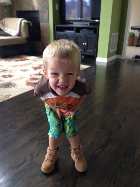Grandpa boots and swim suit