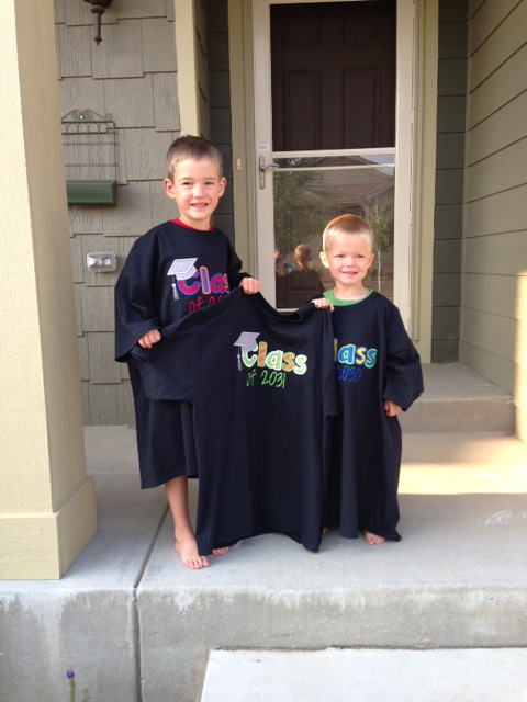 First Day Shirts....hopefully by age 18 they will fit better. Looking forward to Edric wearing his