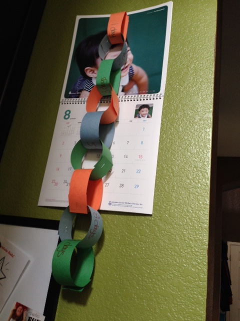 Our countdown chain with him looking on