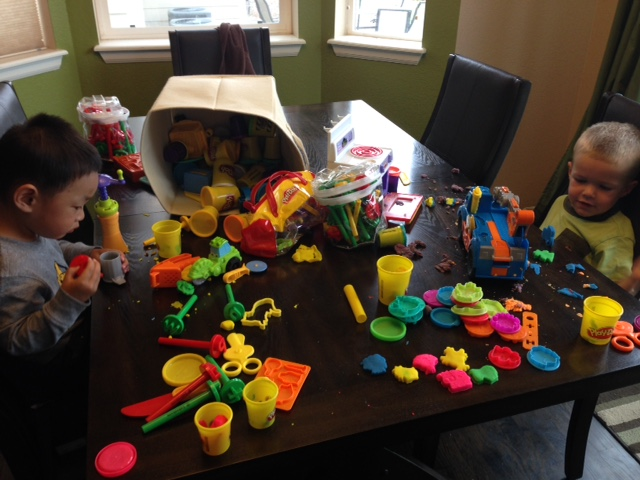 Play-doh, mommy made a nice little farm...the little guys made....A MESS!