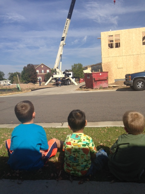 watching some construction close by our house