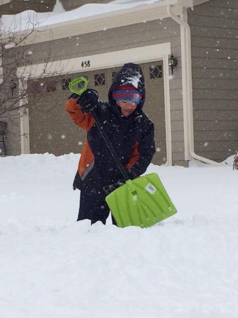 Leighton's shoveling skills