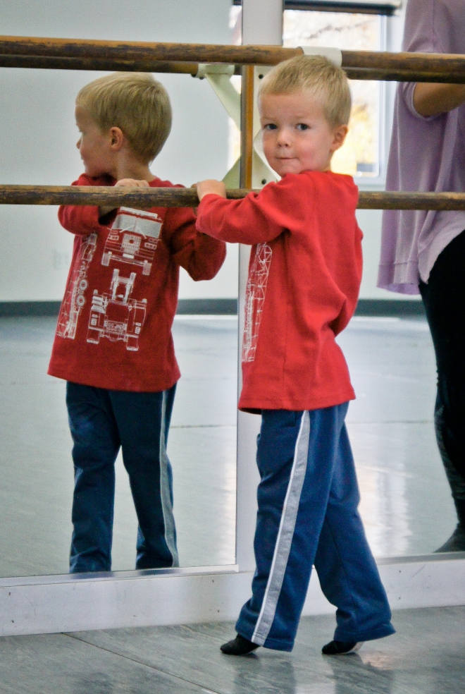 Ballet class with fire truck shirt on