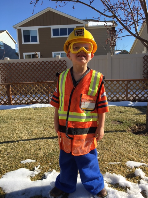 "grandpa boots, ninja pants, bronco shirt, ""worker man"" vest, goggles and helmet"